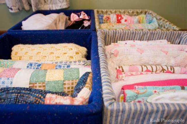 Girls' Bedroom Fabric Covered Milk Crates