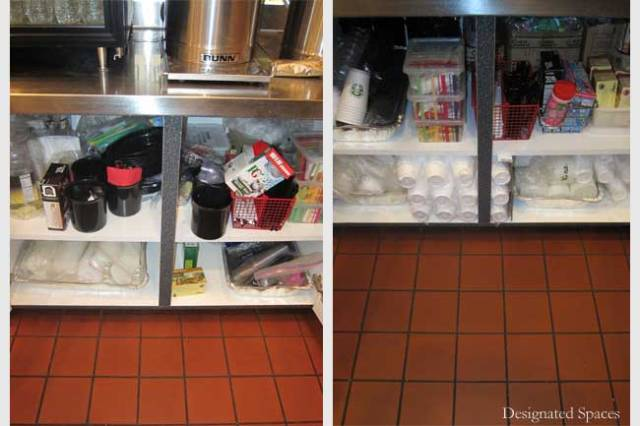 Serving Supplies Storage Cabinets Before and After