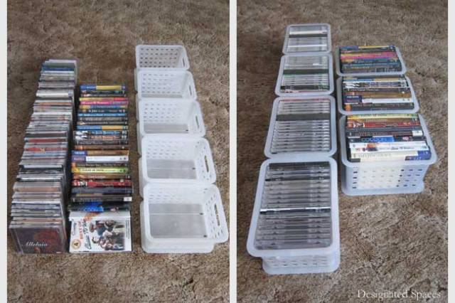 Entertainment Storage Cabinet Organization Before and After