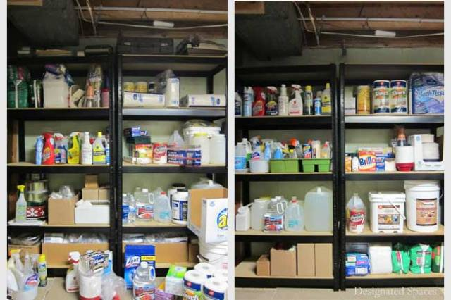 Supply Storage Shelves Before and After