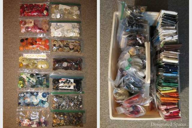 Buttons and Fabric Organized by Color