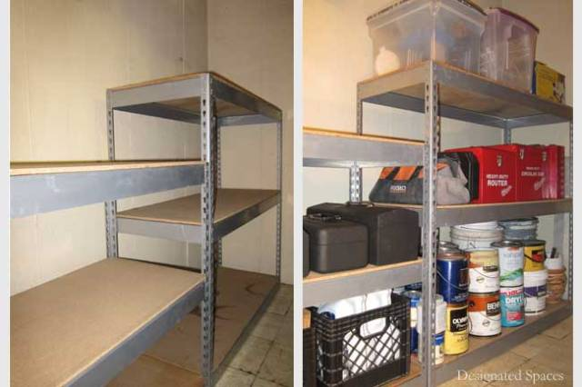 Tool Storage Shelves Before and After