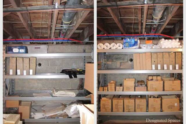 Product and Maintenance Storage Shelf Before and After