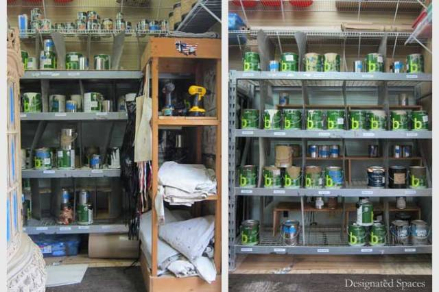 Studio Paint Supply Shelf Before and After