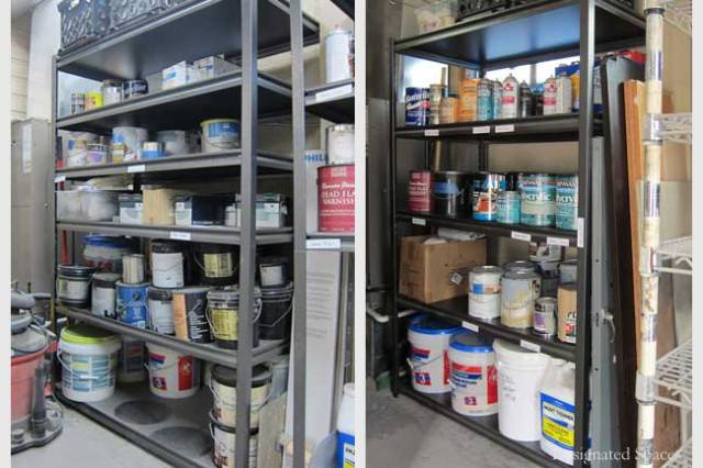 Paint Supply Shelf Before and After